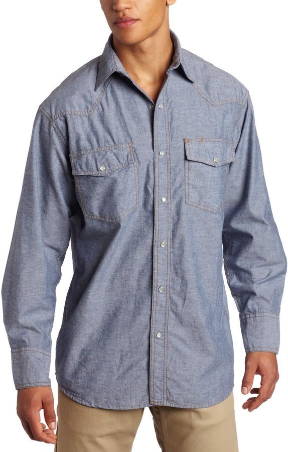 Key ~ Men/'s ~ 5007.45 ~ Pre-washed Blue Chambray Western Shirt ~ Short Sleeve