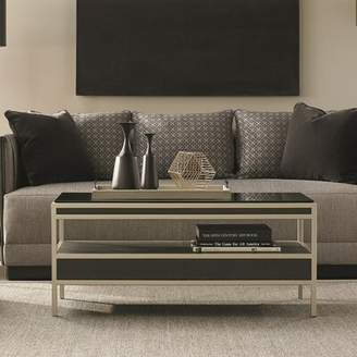Caracole Modern Glass Top Coffee Table with Leather Drawers Caracole Modern