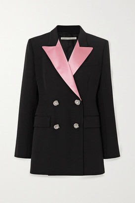 Alessandra Rich Double-breasted Crystal-embellished Wool-crepe Blazer - Black
