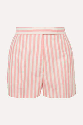 Thom Browne Striped Wool, Mohair And Silk-blend Shorts - Pink