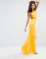 Missguided Exclusive High Neck Open Back Maxi Dress