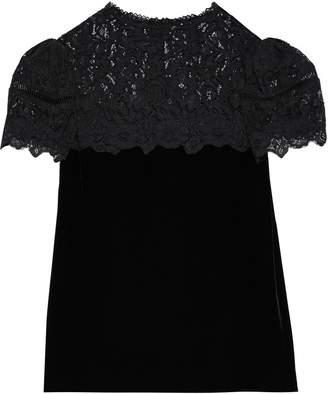 Rebecca Taylor Corded Lace-paneled Velvet Blouse