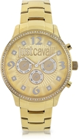 Just Cavalli Huge JC 3H Gold Dial Stainless Steel Women's Watch