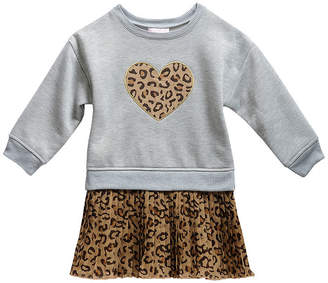 Youngland Young Land Girls Long Sleeve Drop Shoulder Sleeve Drop Waist Dress - Toddler