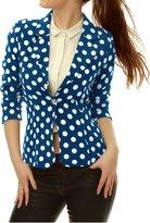 Allegra K Women Long Sleeves Polka Dot One Button Blazers Suit Jacket M