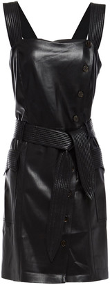 Nanushka Charo Belted Shirred Vegan Leather Mini Dress