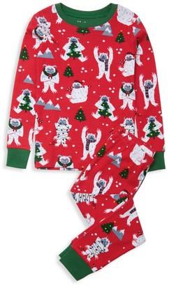 Hatley Little Kid's & Kid's 2-Piece Yuletide Yetis Organic Cotton Pajama Set