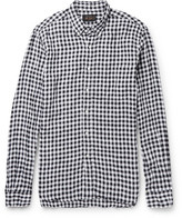 Beams Button-Down Collar Gingham Linen Shirt
