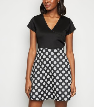 New Look Mela Polka Dot Skater Dress