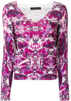 Frankie Morello printed V-neck sweater