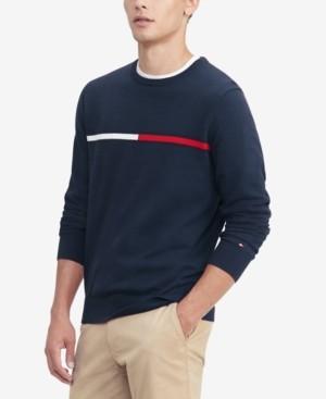Tommy Hilfiger Men's Logo Crewneck Cotton Sweater