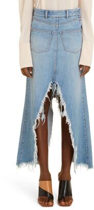 Givenchy Raw Hem Denim Midi Skirt