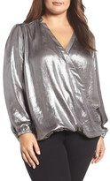 Melissa McCarthy Plus Size Women's Crinkle Metallic Surplice Blouse