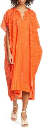 Zero Maria Cornejo Rae Fringe Stripe Caftan Dress