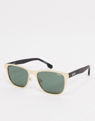 Quay Monte Carlo mens square sunglasses in gold with green tort