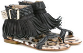 Roberto Cavalli fringed sandals - kids - Leather/Pig Leather/rubber - 35