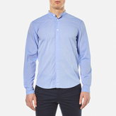 Folk Collarless Shirt Fresh Blue