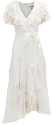 Temperley London Clarisse Ruffled Metallic-jacquard Chiffon Dress - White