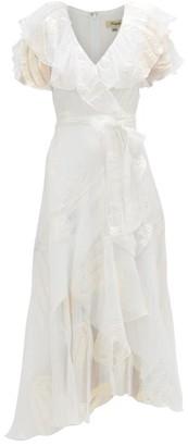 Temperley London Clarisse Ruffled Metallic-jacquard Chiffon Dress - Womens - White