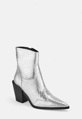 Missguided Silver Croc Effect Western Ankle Boots