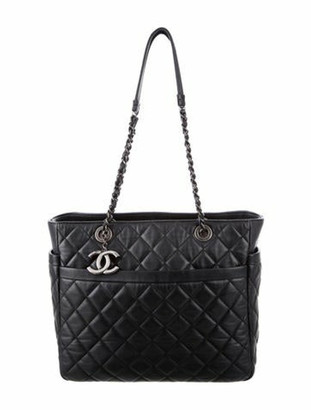 Chanel Quilted Lambskin Shopper silver