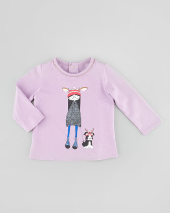 Little Marc Jacobs Long-Sleeve Dog-Walker Graphic Tee, Lilac, 3-18 Months