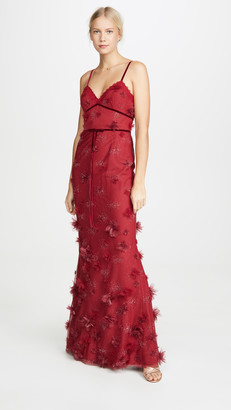 Marchesa Metallic Embroidered Fit and Flare Gown