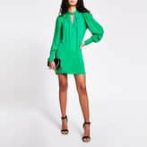River Island Green twisted cut out neck mini swing dress