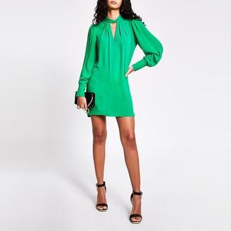 River Island Green twisted cut out neck mini swing dress