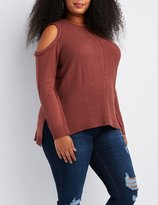 Charlotte Russe Plus Size Mixed Knit Cold Shoulder Sweater