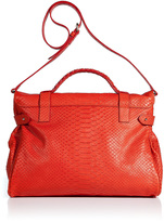 Mulberry Flame Silky Snake Print Leather Oversized Alexa Bag