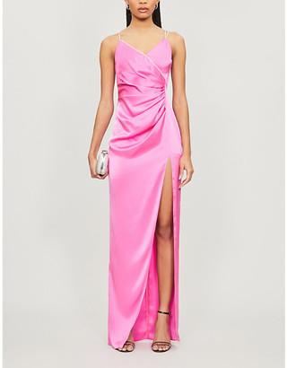David Koma Diamante-embellished draped satin gown