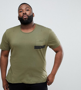 Religion PLUS T-Shirt In Khaki With Stripe Pocket And Stepped Hem