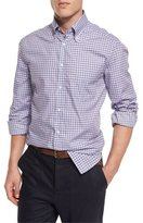 Brunello Cucinelli Basic-Fit Twill Check Sport Shirt, Purple