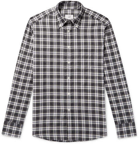 Dunhill Button-Down Collar Checked Cotton-Flannel Shirt