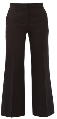 Valentino Crepe Couture Wool-blend Kick-flare Trousers - Black