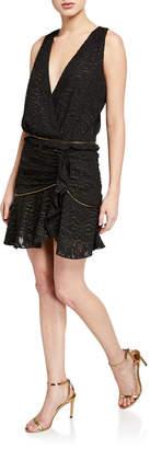 Ramy Brook Ensley Sleeveless Metallic Flounce Dress