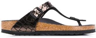 Birkenstock Crocodile-Effect Flat Sandals