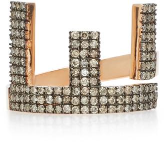 TULLIA Magic E 14K Rose Gold Diamond Initial Ring