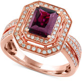 Effy Bordeaux by Rhodolite Garnet (1-5/8 ct. t.w.) and Diamond (3/8 ct. t.w.) Double Frame Ring in 14k Rose Gold