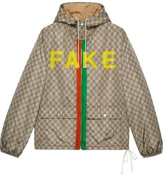 Gucci Fake/Not print GG nylon jacket