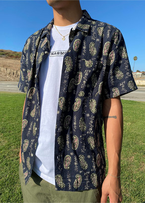 Urban Outfitters Without Walls Global Pattern Short Sleeve Button-Down Shirt