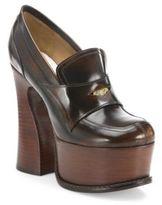 Maison Margiela Leather Loafer Platform Pumps