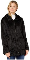 Mod-o-doc Corded Faux Fur Zip Front Patch Pocket Jacket (Black) Women's Clothing