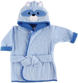 Luvable Friends Boys' Bath Robes Blue - Blue Raccoon Hooded Fleece Robe - Newborn