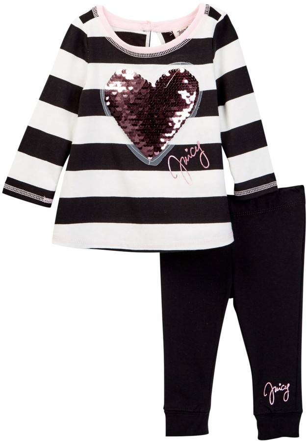 Juicy Couture Sequin Heart Applique Wide Stripe Tunic & Legging Set (Baby Girls)