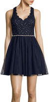 City Triangles Sleeveless Scalloped Lace-Bodice Party Dress- Juniors