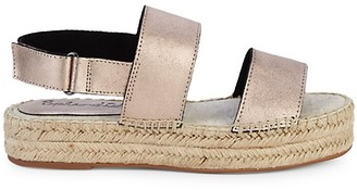 Splendid Aubrey Metallic Leather Espadrille Flatform Slingback Sandals