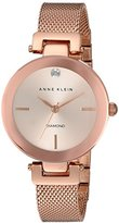 Anne Klein Women's AK/2472RGRG Diamond-Accented Rose Gold-Tone Mesh Bracelet Watch