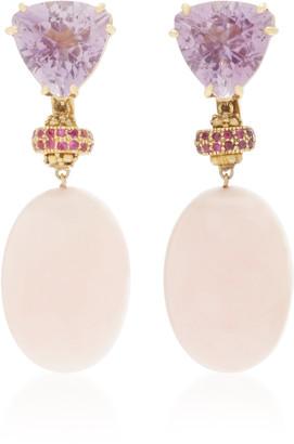 Sorab & Roshi 18K Yellow Gold Amethyst and Pink Opal Dangle earrings